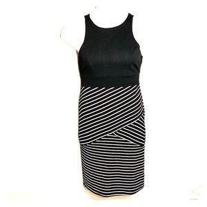 Sz M Blk & White Striped Tank Stretch Dress